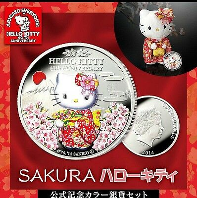1 oz 2014 Hello Kitty 40th Anniversary Finished in 18k White Gold Coin