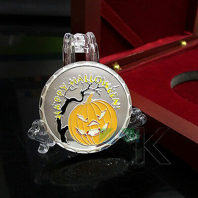 1 oz Happy Halloween Finished in 18k White Gold Coin/Medallion