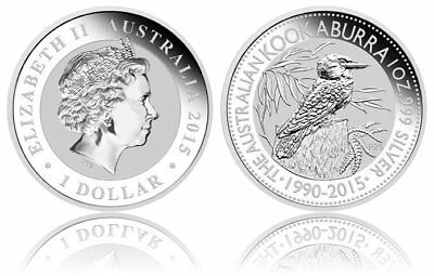 1 oz Kookaburra 2015 Finished in 18k White Gold Coin/Medallion