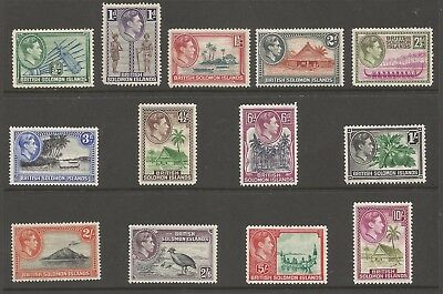 British Solomon Islands Sg60-72 The 1939-51 Gvi Set Of 13 Mounted Mint Cat £90