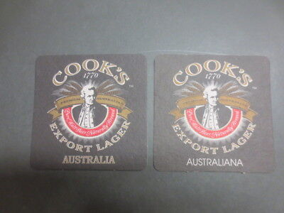 2 different GEELONG Brewery, ,COOK,S Export Lager Issue,BEER Coasters