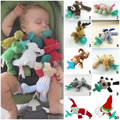 Food Grade Silicone Pacifier with Plush Stuffed Animal Toy Infant Baby Toddler