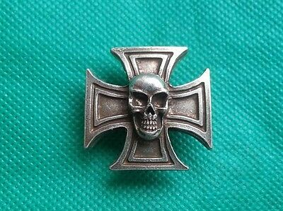 "Kreuz ""Totenkopf"" - PIN - Harley BMW Indian Skull Biker Rock Gothik"
