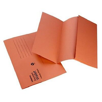 ORANGE A4 FOOLSCAP CARDBOARD ENVELOPE FILING DOCUMENT WALLET FOLDERS 50 Pack