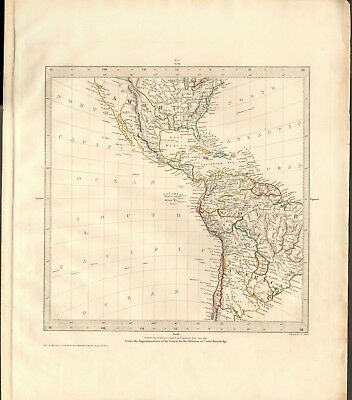 1831 Antique Map- Sduk - Gnomonic Projection - Usa South,south America,galapagos
