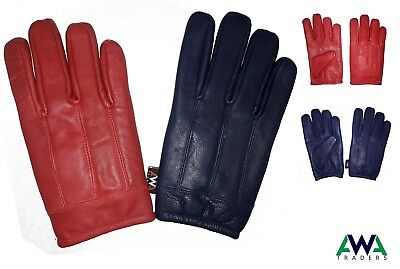 Mens / Gents Soft Leather Winter Gloves with Warm Fleece Lining Tactical Style