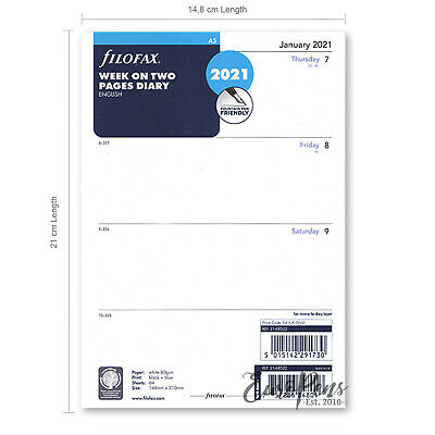 Filofax A5 2019-2020 Week On Two Pages Diary Refill English (68522)