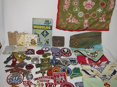 Lg Lot Vintage Boy and Cub Scout Weebelos Patches Pins Cards Neckerchiefs More