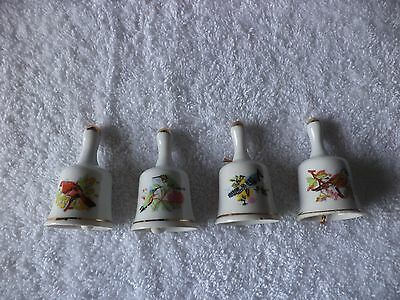 Vintage Lot of 4 Collectible Miniature Bells, All Bells have pictures of Birds