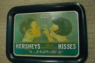 A KISS FOR YOU,HERSHEY'S MILK CHOCOLATE KISSES,TIN METAL SIGN TRAY,Vintage Decor