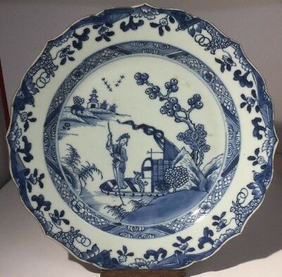 FINE Chinese Qianlong 18th Century Blue & White Hand Painted Export Plate c1750