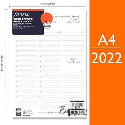 Filofax A4 2019 Week On Two Pages Appts Diary Refill 5 Langs (68714)