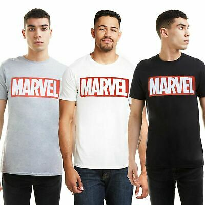Marvel Logo Mens T-Shirt Top - White Black or Grey - Sizes S-XXL