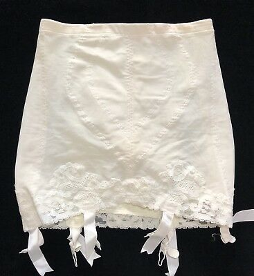 1950's Vintage Vanity Fair Open Bottom Six Garter Ivory Girdle Size M (RF815)