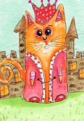 ACEO Original Painting Cat ... King of his Castle Whimsical Art by FAiRyPiGGleS