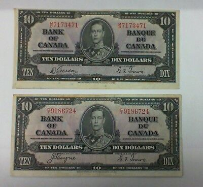 1937 BANK OF CANADA LOT OF 2 $10.00 BANKNOTES GORDON/TOWERS and COYNE TOWERS