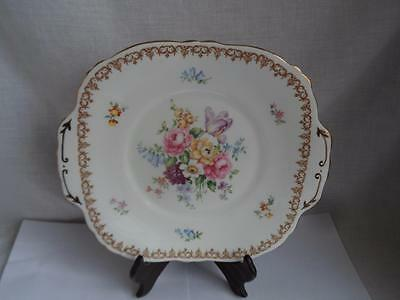 Vintage Crown Staffordshire Englands Bouquet China Cake Plate