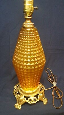 Vintage Retro Amber Glass Mid Century Antique Ef & Ef Table Lamp