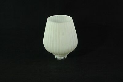 Antique Vintage White Frosted Glass Opal Glass Ribbed Fluted Pendant Light Shade