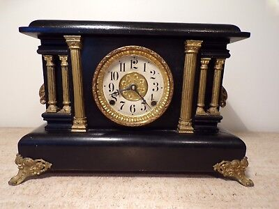 Antique Vtg Sessions Mantle Clock Wood Metal 6 Pillars Columns Works Chimes 242