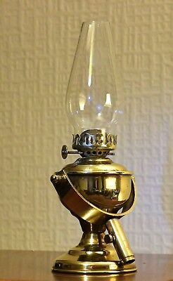 Antique Gimbal Marine Oil Lamp with Glass Chimney