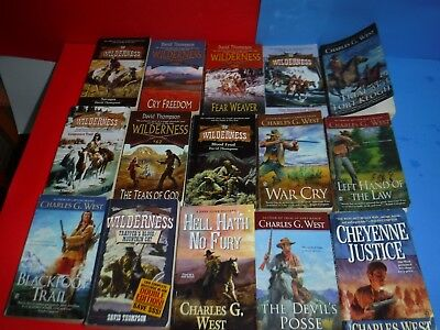 Lot Of 15 Western Novels By David Thompson, Charles G West