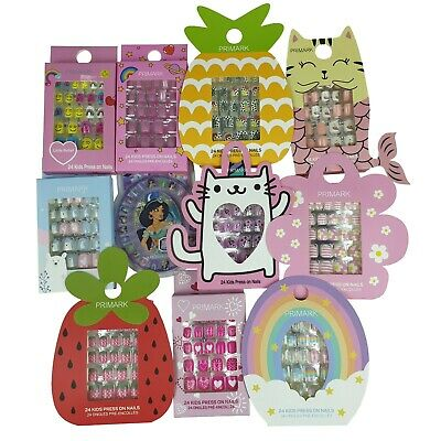 Primark Girl Kids 24 Pcs Press On False Nails  Cute Design (24 Pre-Glued Nails)