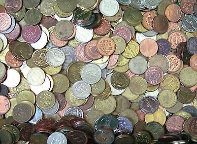 """250 Popular Size--25 MM ARCADE TOKENS .984"""" Mixed Lot Chuck E Cheese Size"""