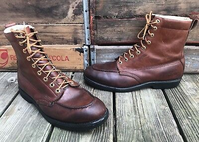 LAND ROVER Brown Leather Moc Toe Vintage Hunting Work Boots Men's 11D