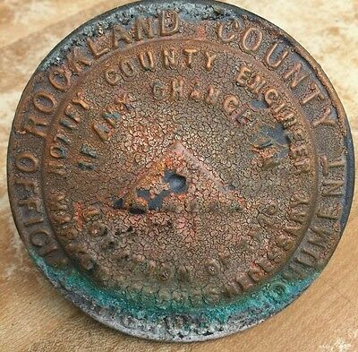 RARE Antique Round BRASS Highway Monument Marker Rockland County