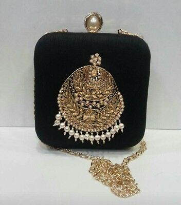 Very-Elegant-Handcrafted-Heavy-Zardozi-Embroidery-Pearl-Clutch
