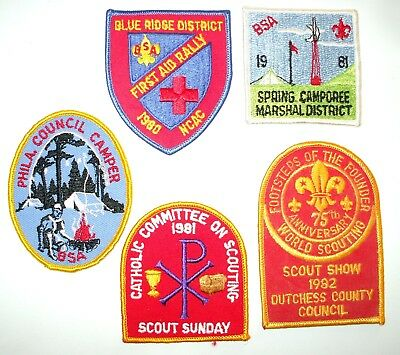 Lot of 5: Vintage Boy Scout BSA Patches * Catholic Committee, First Aid Rally +