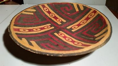 "African Hand Carved Wood Tray Bowl 12"" Signed CID '54"