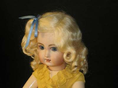 Lettie Light Blonde mohair wig for antique French / German bisque doll size 8