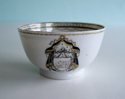 Antique Armorial Chinese Export Porcelain Cup with Monogram GML Black & Gold