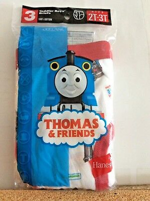 Thomas & Friends 2T-3T Toddler Boys' Briefs 100% Cotton 3 Pair by Hanes NEW