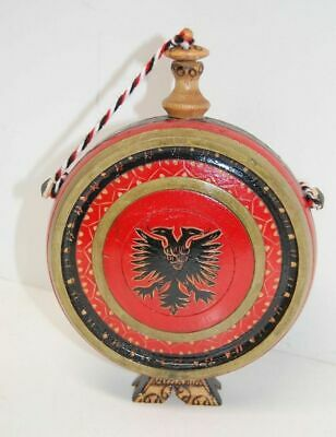 Primitive Style Small Wooden Flask Canteen Hand Painted Hand Carved Decor