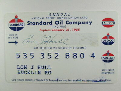 Standard Oil Company - 1958 Credit Charge Card