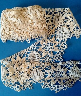3 1/2 yds Antique HAND MADE CLUNY BOBBIN LACE  Wide Ivory INTRICATE Vintage