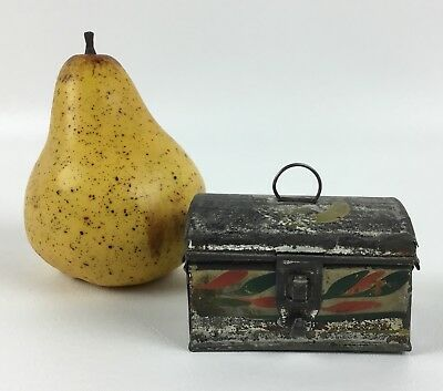 Antique Tole Painted Tin Small Box Dome Top Toleware Paint Decoration AAFA