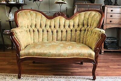 Vintage Mahogany Victorian Style Carved Settee with Tufted Curved Back