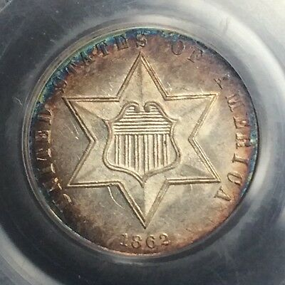 1862 Three Cent Silver PCGS MS-63 with Luster, Great Toning, and Die Clashes!