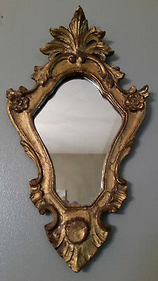 Vintage Florentia Accent Mirror Hand Made in Italy Gold Gilt Carved Wood Tole