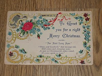 A Right Merry Christmas Embossed  Postcard  Vintage Unposted Vgc