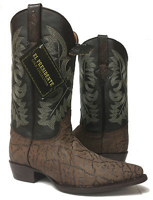 2a5b4782c6c MENS BROWN ELEPHANT Pattern Genuine Leather Western Cowboy Boots Rodeo J Toe