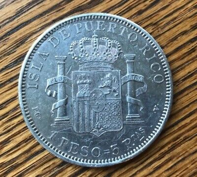 1895 Puerto Rico 1 Peso Au Silver Coin Almost Uncirculated