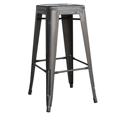 Loft Style 30 In Stackable Metal Bar Stool Gunmetal Silver Set Of 4 Seat New
