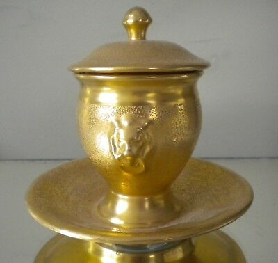 Antique Gold Hand Painted Condiment Jar Mustard With Cover 1924 With Lion Head