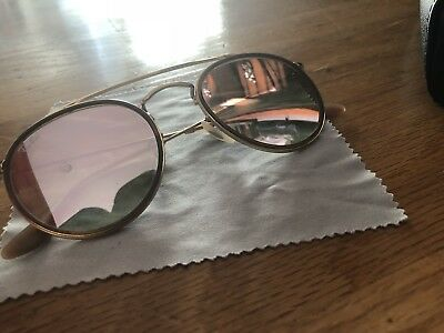 e019aa9868 Ray-Ban RB3647N 001 7O Round Double Bridge Gold Red Sunglasses Pink Mirror  Lens