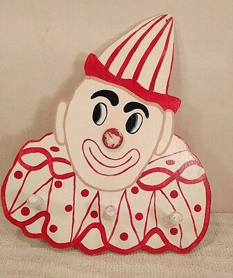 Vintage Hand Made Painted Clown Coat Towel Hat Rack - Circus - Cool!